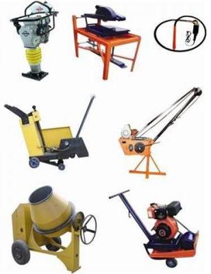 Строительное оборудование: грейферы, виброплиты, лебедки, бетоносмесители.