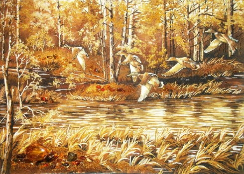 Изготовление картин из янтаря