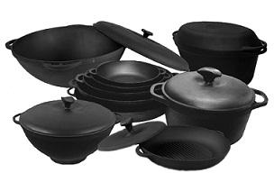 Купить посуду из чугуна и шамотной глины недорого