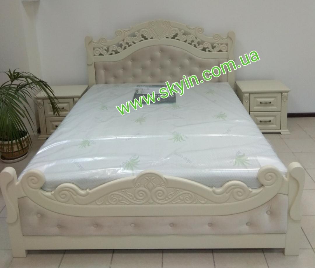 Двуспальная кровать Корона с тумбами из массива ясеня