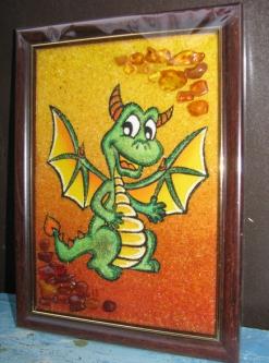 Новогодние картины с дракончиками из янтаря: интернет магазин сувениров