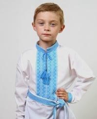 Вышиванка для мальчика - бело-синяя