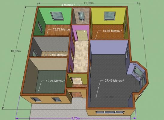 Дом 9,7 на 10,9 м .Проект Гелиос. Площадь 101 кв. м. Срок 6-7 недель