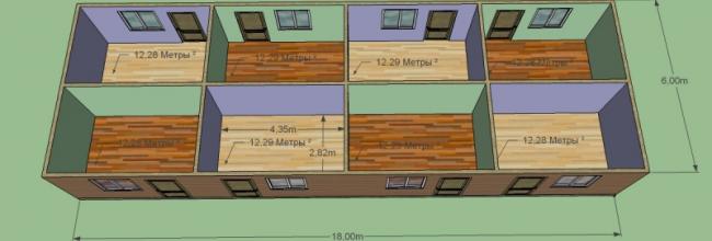 Гостиница, дом для баз отдыха, пансион. 18 на 6 м. 8 номеров. Строительство