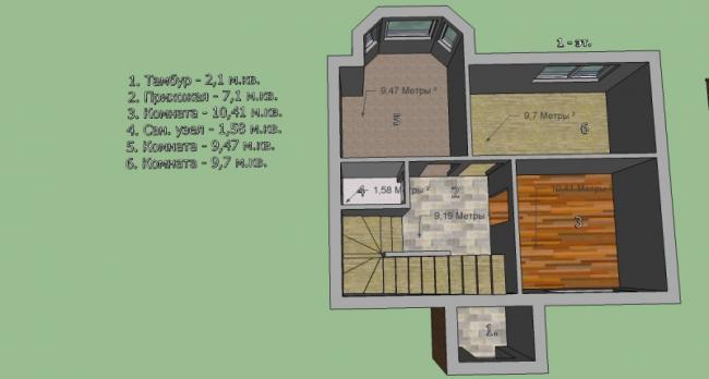 Построим дом 8 на 6 м. 2 этажа. Площадь 108,45 м2. Балкон. Монолит. Утеплен. Шумоизоляция