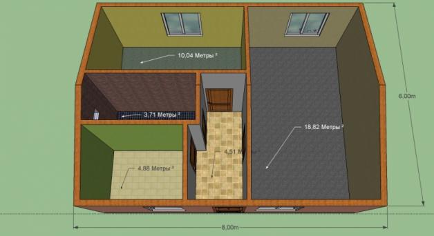 Дом 6 на 8 м, Площадь 48 м2. Комната, кухня, корридор, сан. узел, спальня