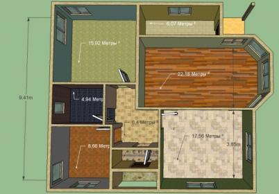 Дом 10,2 на 9,4 м. Площадь 98 кв. м. Кухня-гостинная, 2 комнаты, детская, ванна, топочная. Срок 2 месяца под отделку