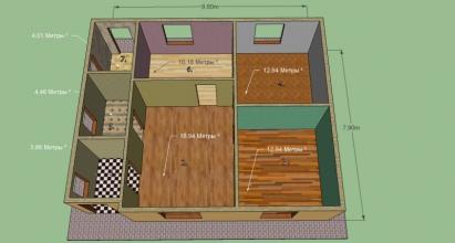 Дом 9,6 на 7,9 м. Гостиная, 2 комнаты, кухня, с/узел, топочная