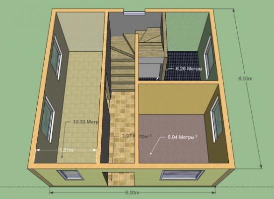 Дом 6 на 6 м. 2 этажа. Площадь 72 м2. Кухня, 3 комнаты, санузел. Срок 5 недель
