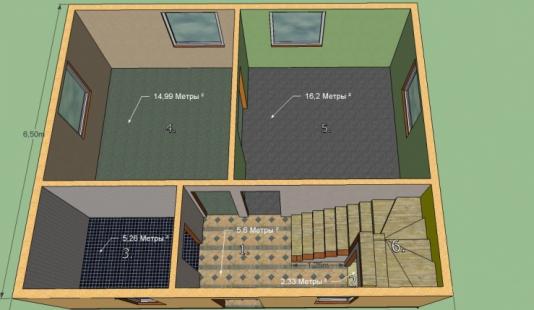 Построим дом размером 8 на 6,5 м. 2 этажа. Площадь 104 м2. Срок строительства под отделку 1,5 месяца