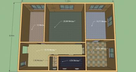 Построим дом 88 м.кв. Размер 8х11 м. 3 комнаты, кухня, с/у раздельный 20700