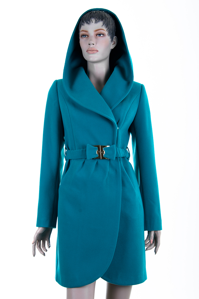 Купить стильное женское голубое пальто с капюшоном - фото каталог ... 4175404155717