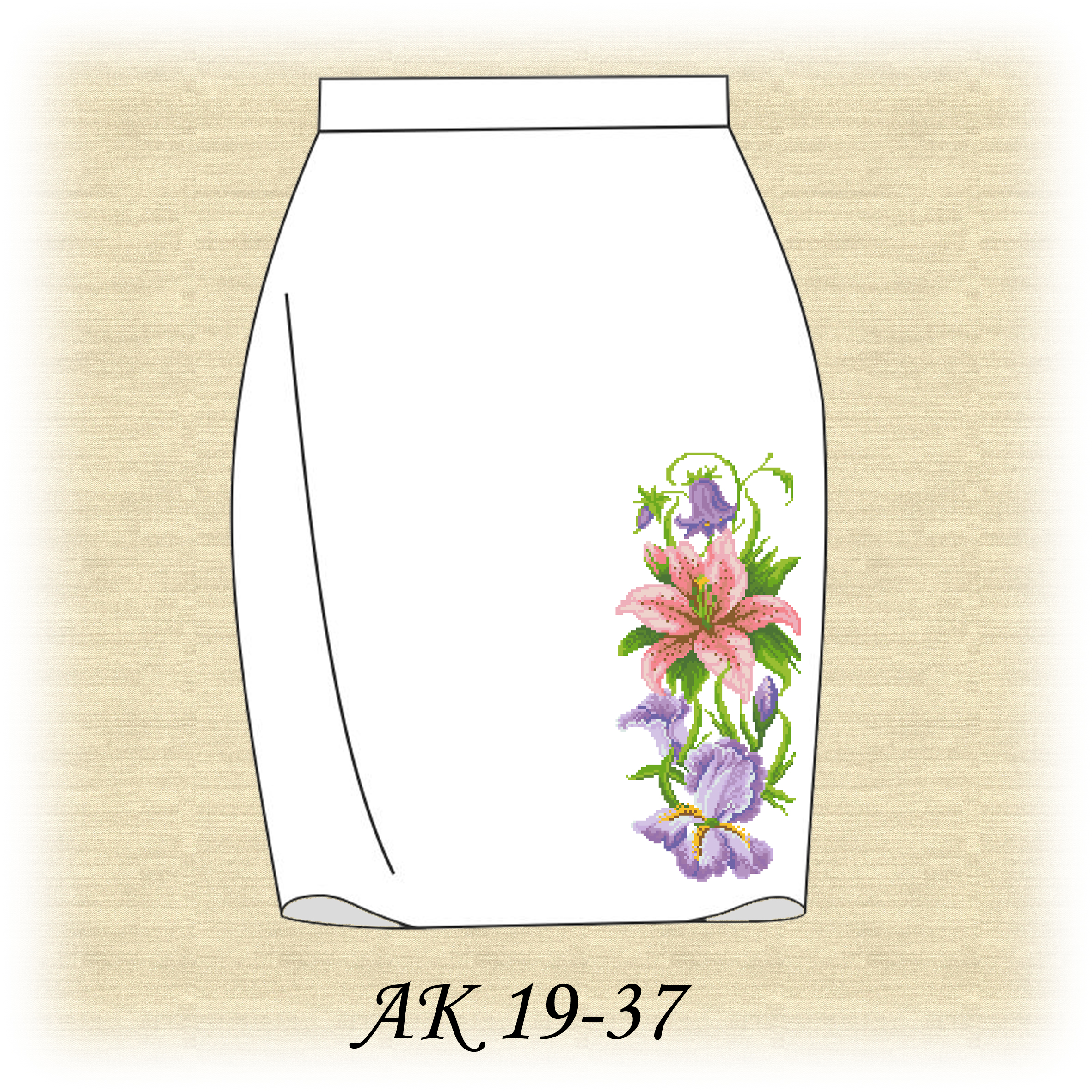 Вышивка на юбке схема