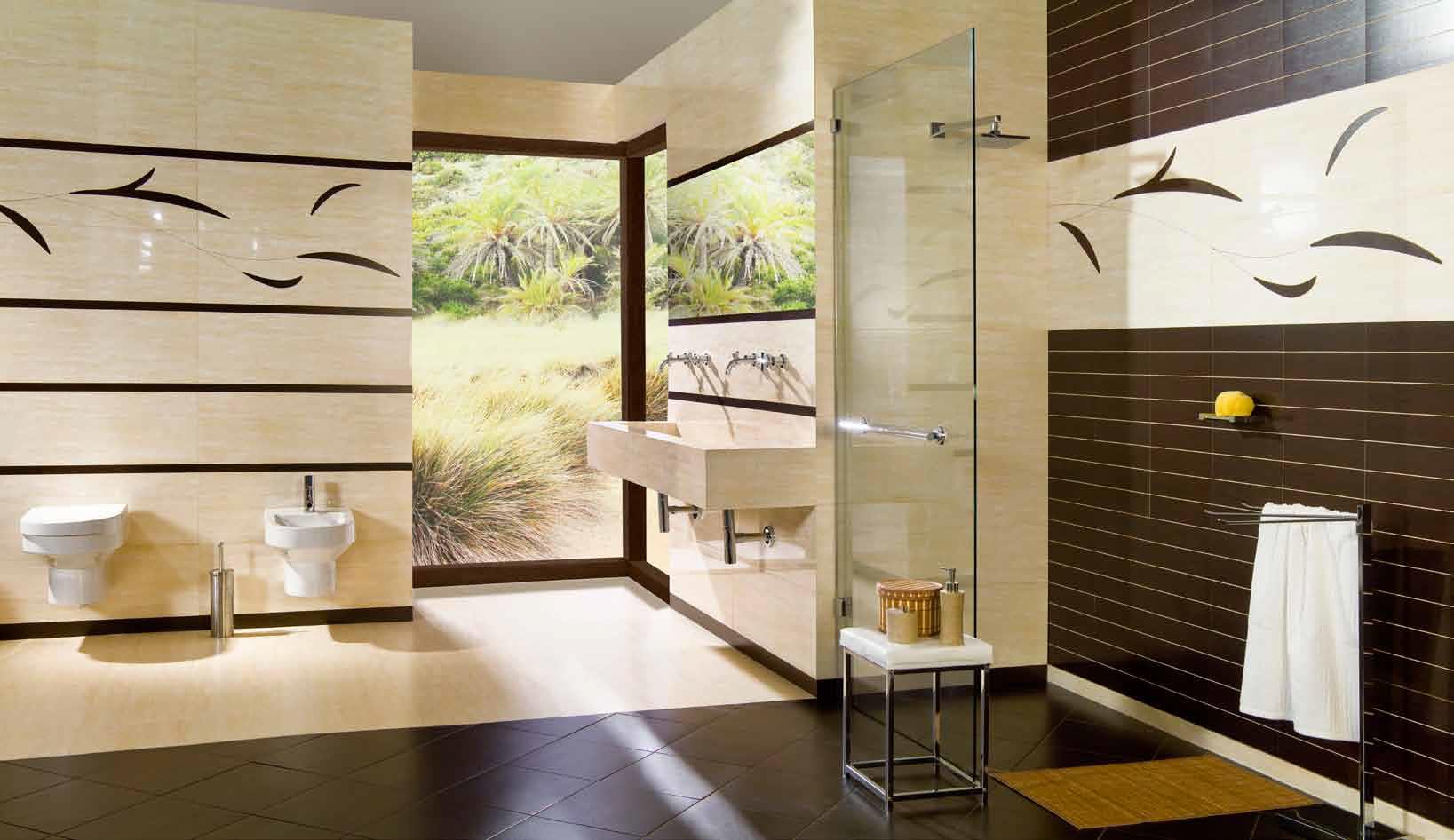 коричневая плитка в ванной фото