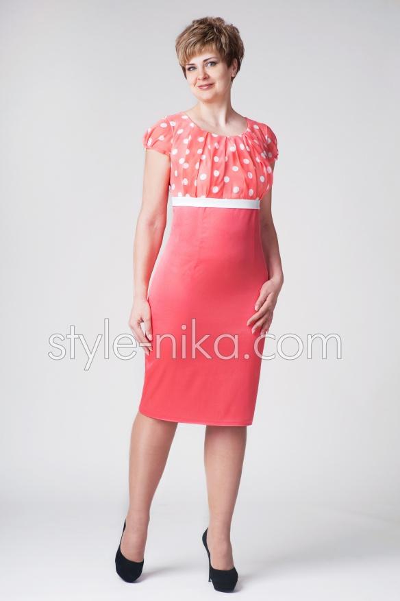 Розовое женское летнее платье большого размера Валерия - Фотокаталог ... 13413ae196e28