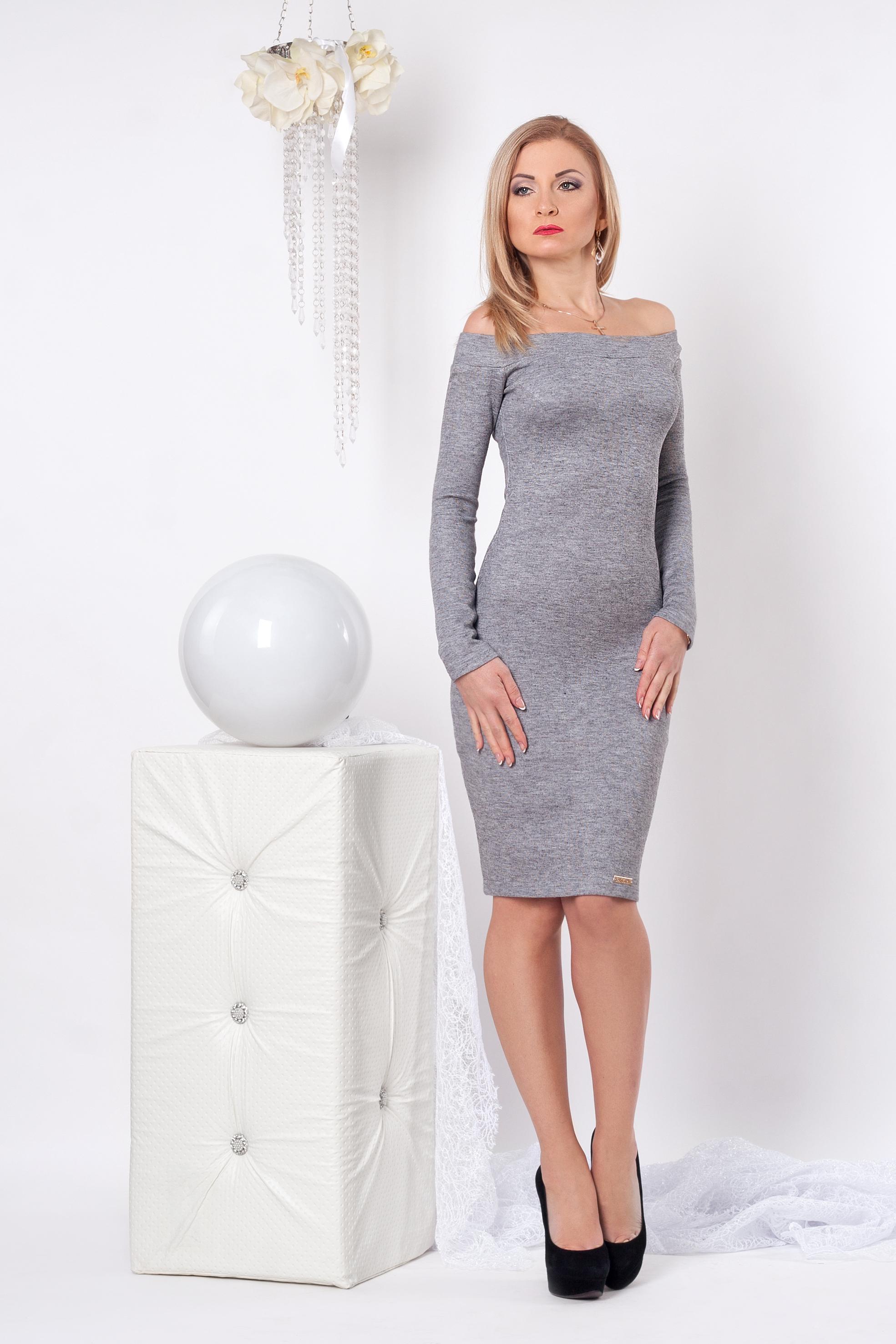 Приталенное женское платье 963 серый - Фотогалерея стильной одежды ... 1670e2b255c64