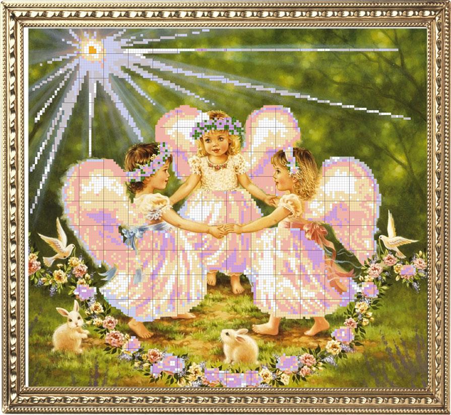 Картина ангелочки для вышивки