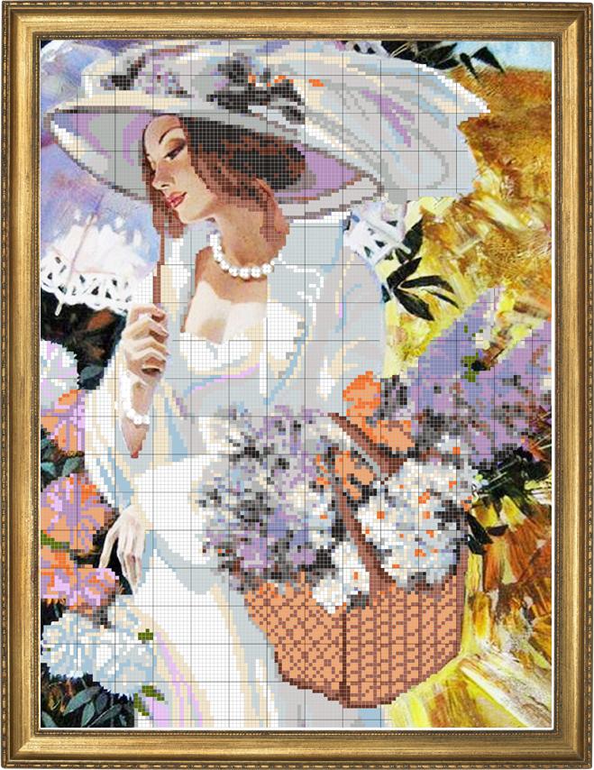 Схема вышивки девушки с зонтом
