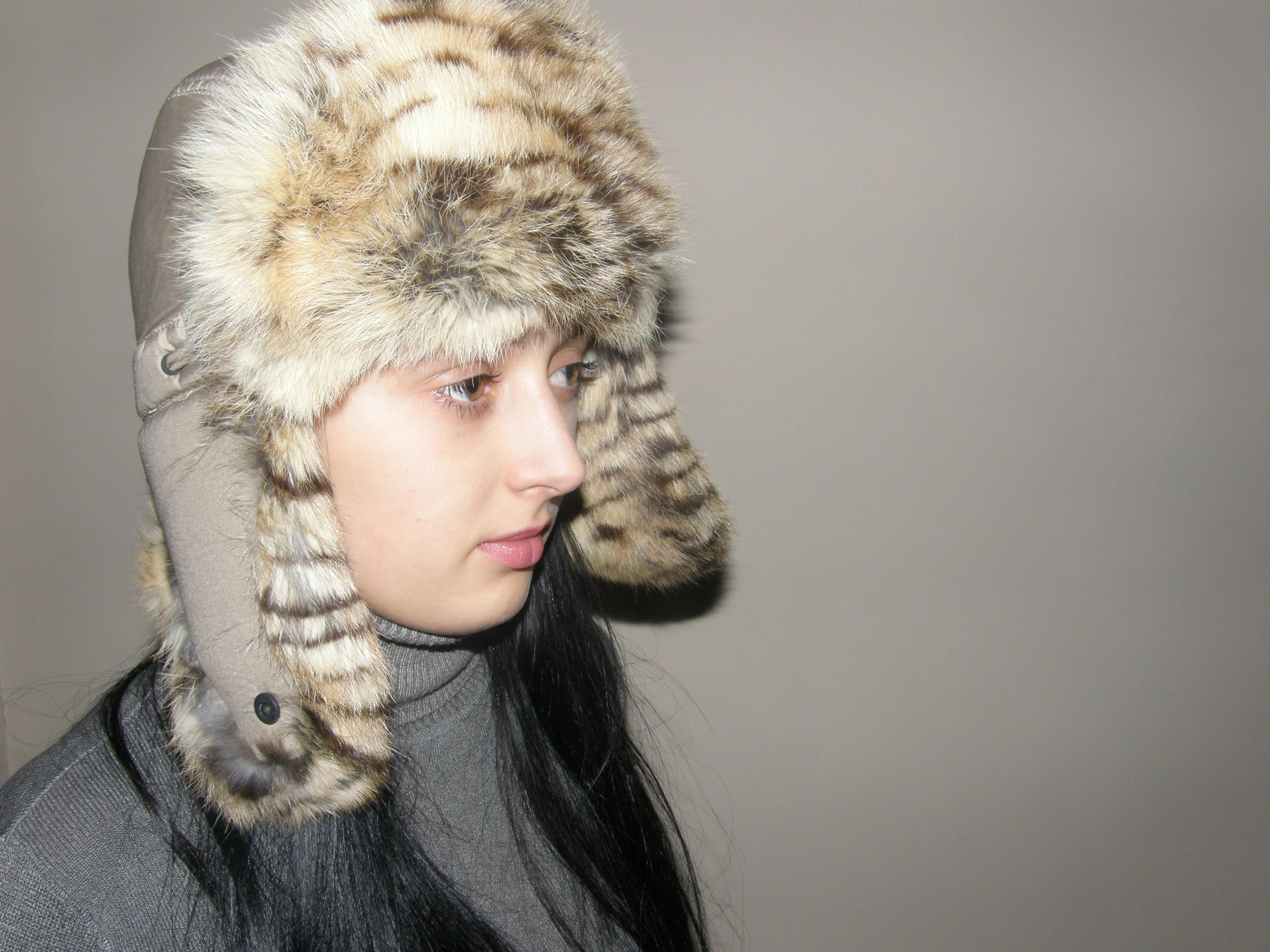 7. Хутряна шапка вушанка (світло-тигрова) ціна 1de545d443170