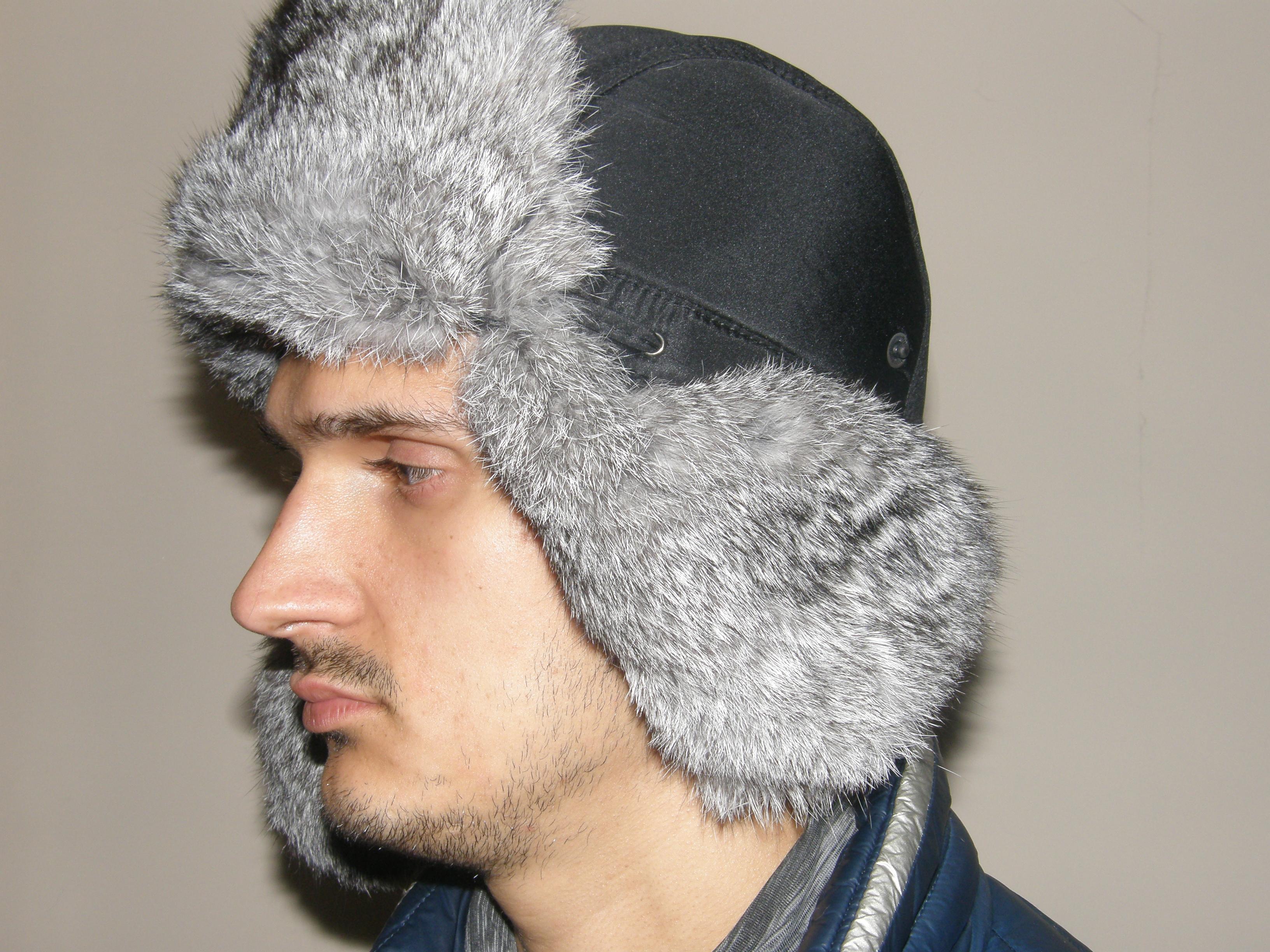 2. Чоловіча хутряна шапка з кролика (світло сіра) ціна 9655bc431e4ac