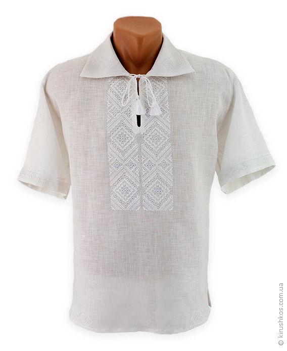32d5aa4339e657 Лляна чоловіча вишиванка в техніці білим по білому з вінницьким візерунком
