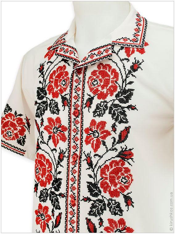Літня незвичайна вишиванка з яскравим узором «Троянди» - Товари ... e88cc3ddb5374
