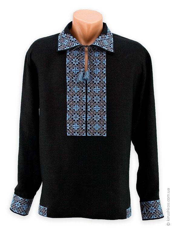 Оригінальна чорна вишиванка з блакитно-сірим традиційним узором ... ae7a1090d69f2
