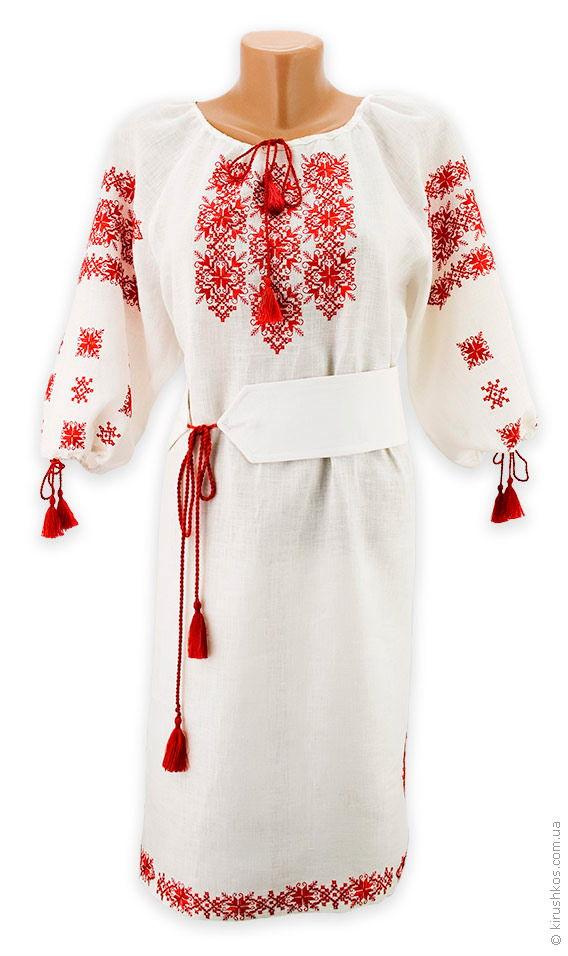 Біле лляне плаття з яскравою вишивкою грайливою ціна 4ecadedc09f77