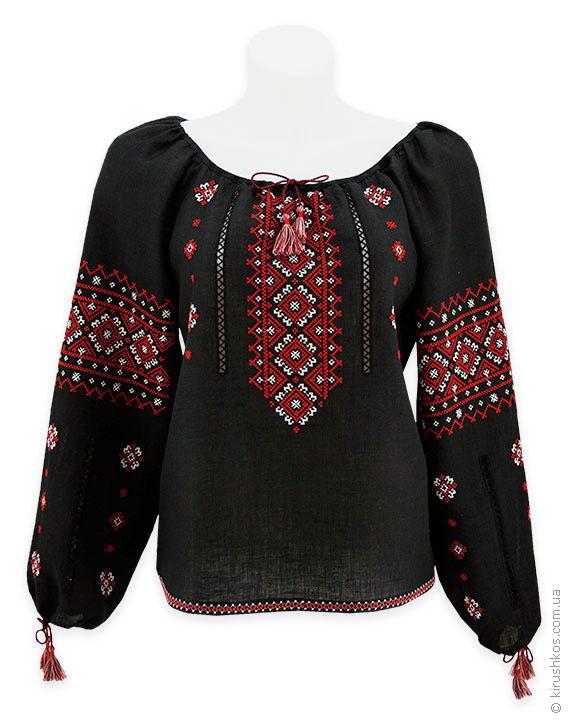 3e8e7bfa311 Чорна жіноча вишиванка з мережками і яскравою червоно-білою вишивкою ...