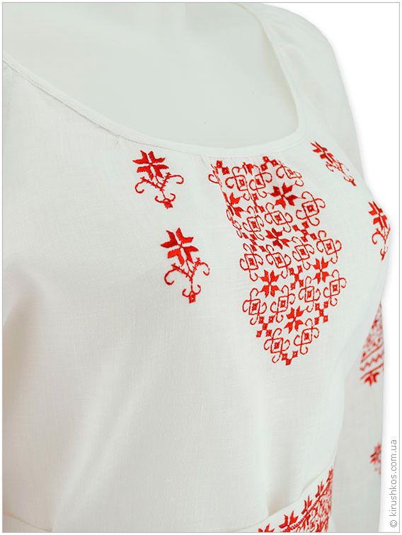 Лляне плаття з червоною наддніпрянської вишивкою льняного платья с ... ee3a59e7ca152