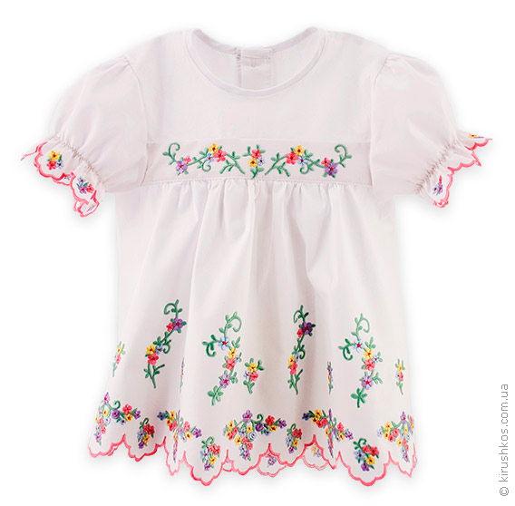 Біле дитяче плаття з ніжним сучасним візерунком - Товари - Майстерня ... 2959eb255bed1