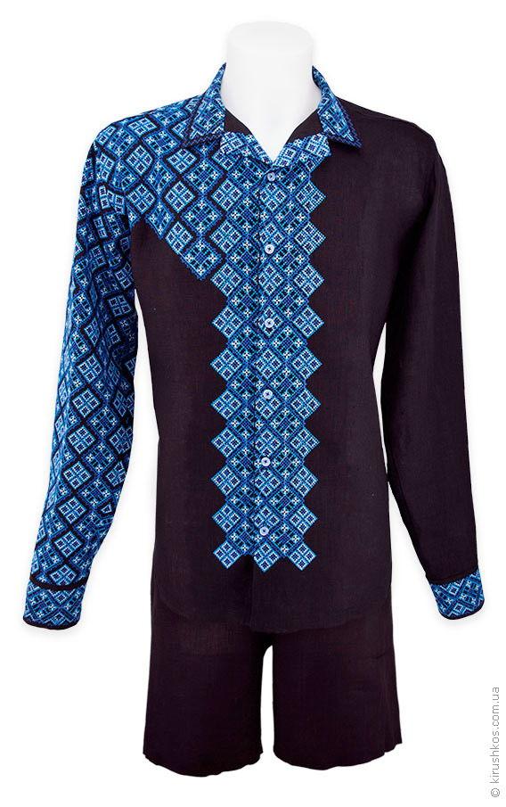 Чоловічий комплект з вишиванки і шортів з чорного льону - Товари ... 69ccdb345ccc2