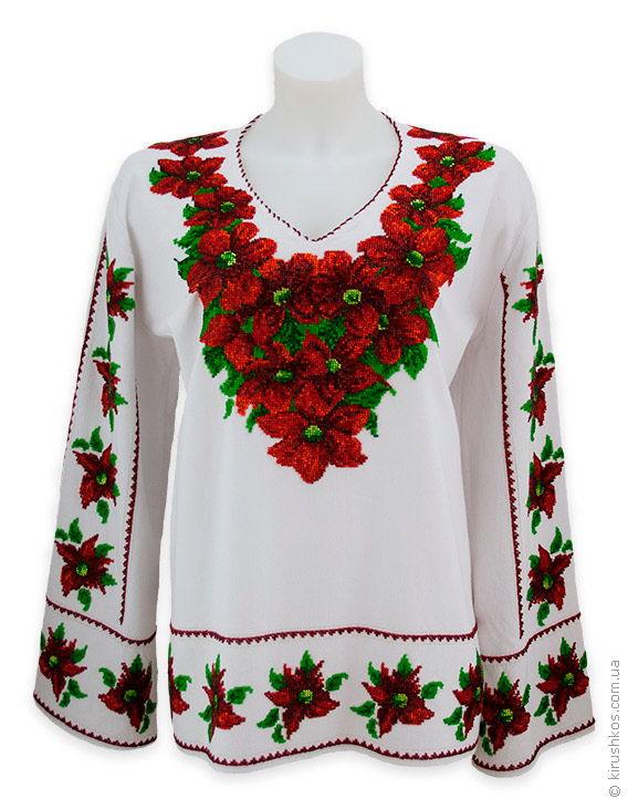 Жіноча шикарна вишита бісером сорочка з червоними квітами - Товари ... 879cd34f4a31f