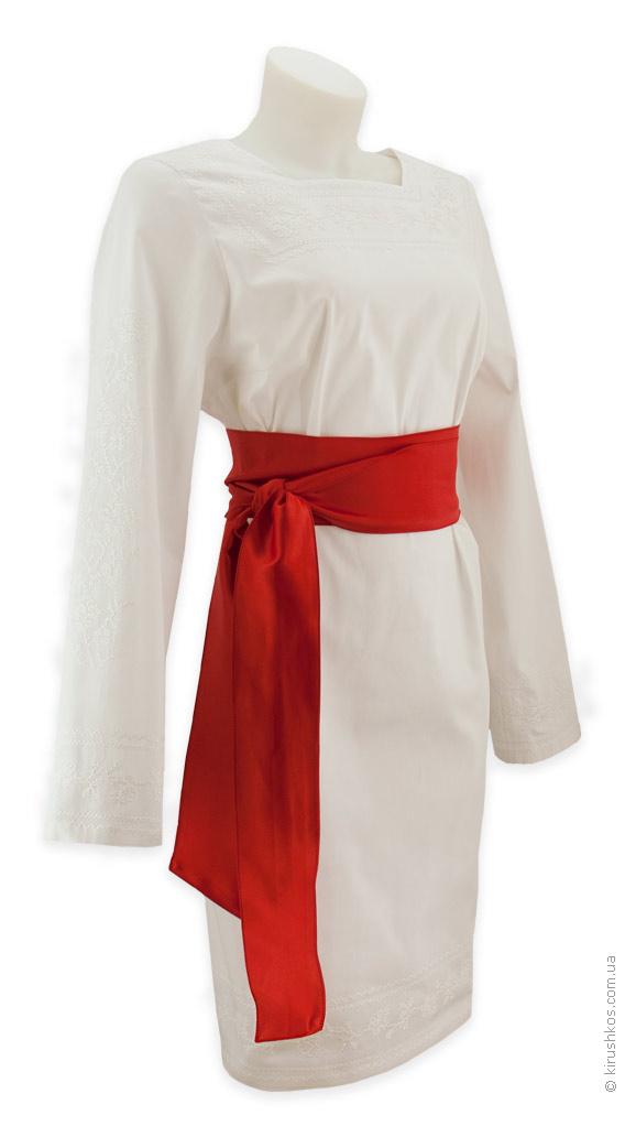 Вишита білими трояндами сукня з червоним поясом ціна af9ad4d99dd35