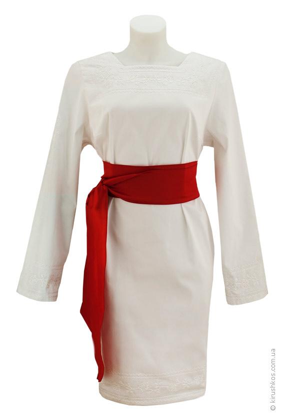 95d1dcfa42995c Вишита білими трояндами сукня з червоним поясом - Товари - Майстерня ...