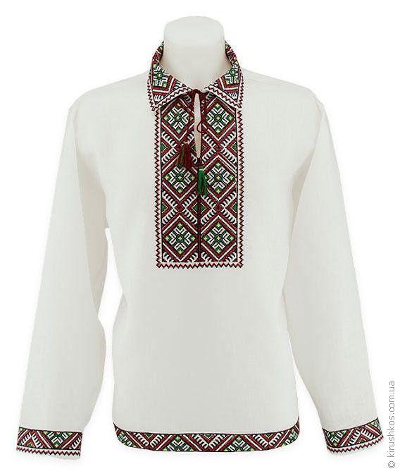 Оригінальна біла вишиванка з бордово-зеленим візерунком - Товари ... f6b0b7f30b727