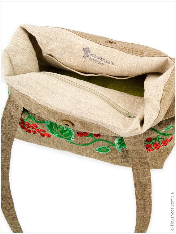 Натуральна лляна сумка з барвистою вишивкою калини - Товари ... d99d6fd0d842b