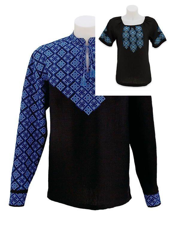Комплект вишиванок з чорного льону для пари ціна 29701714bba2f