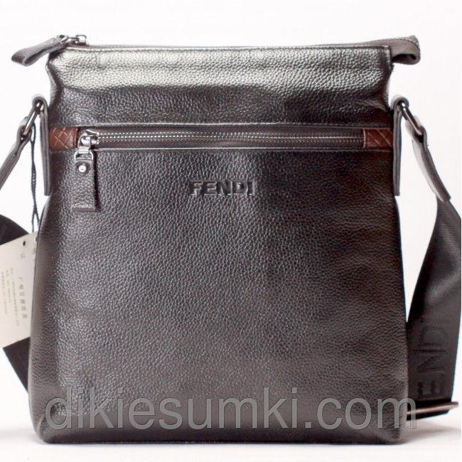 10e2f9555b58 Мужская сумка на плечо FENDI кожаная темно коричневого цвета ...
