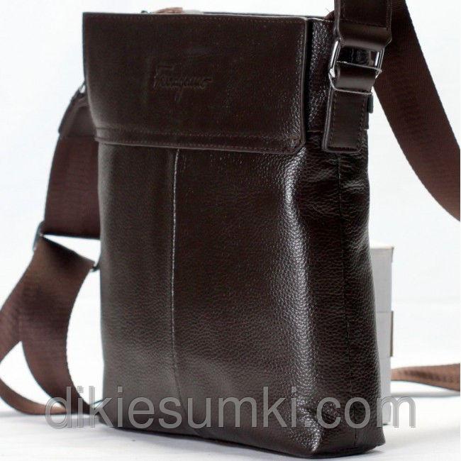 81981f65b70c Мужская сумка кожаная на плечо Salvatore Ferragamo коричневая ...