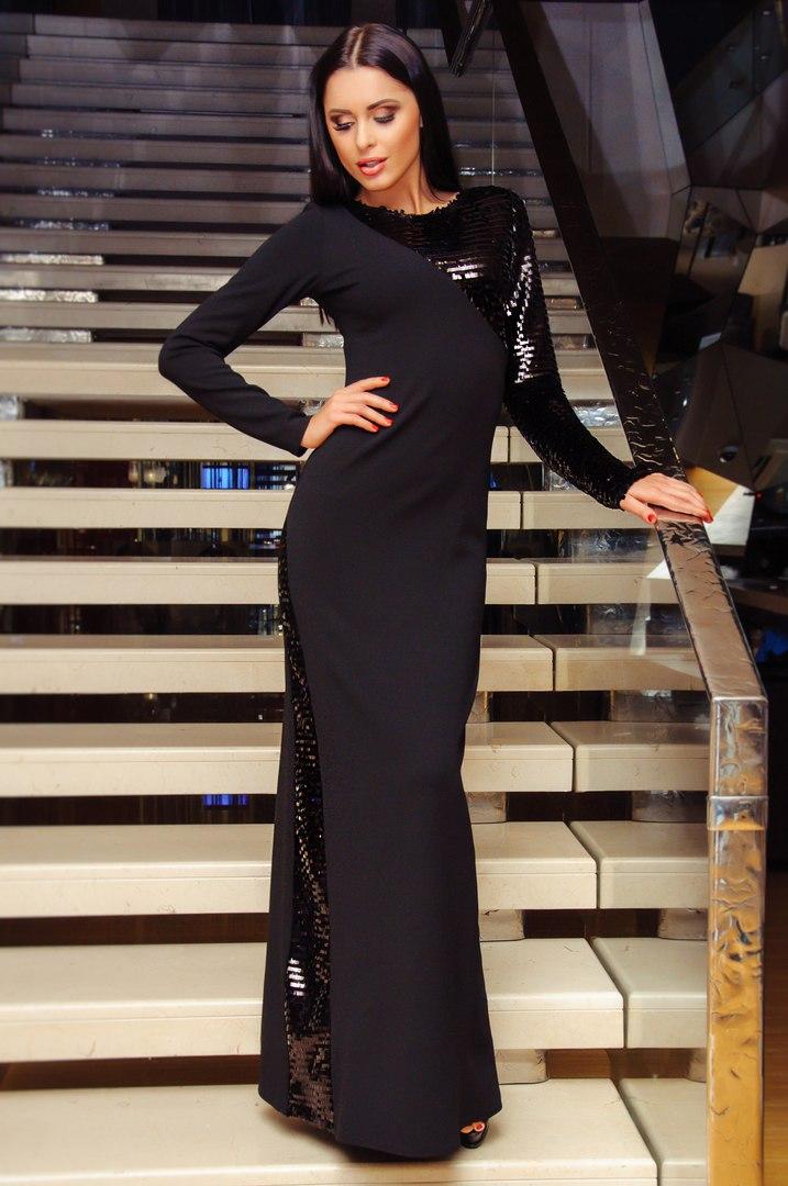 e7f08653461 Вечернее платье в пол черного цвета - Товары - Интернет-магазин ...