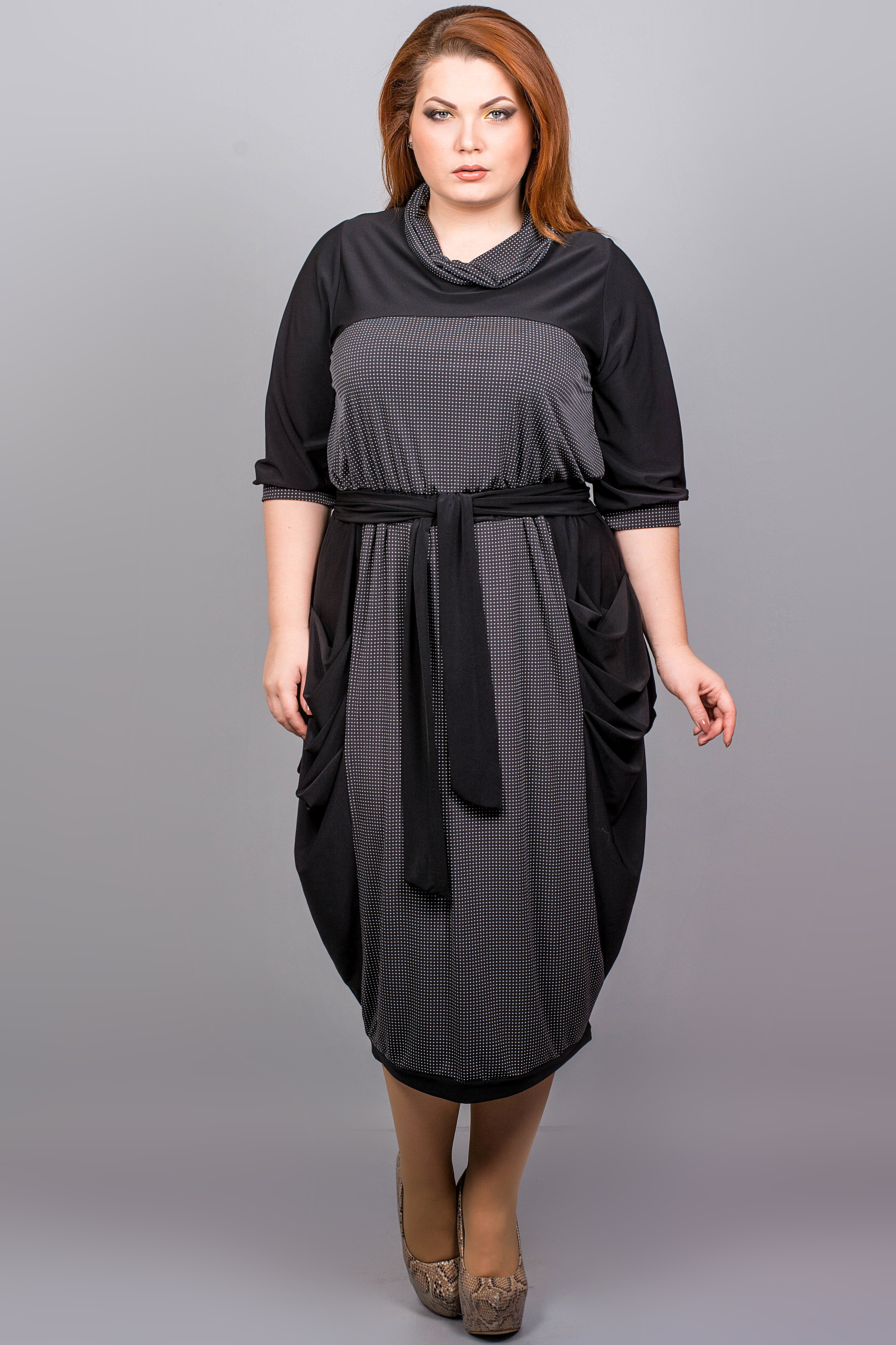 3f8c5acc58c8f5f Женское платье больших размеров с горловиной и рукавом 3/4 - Товары ...