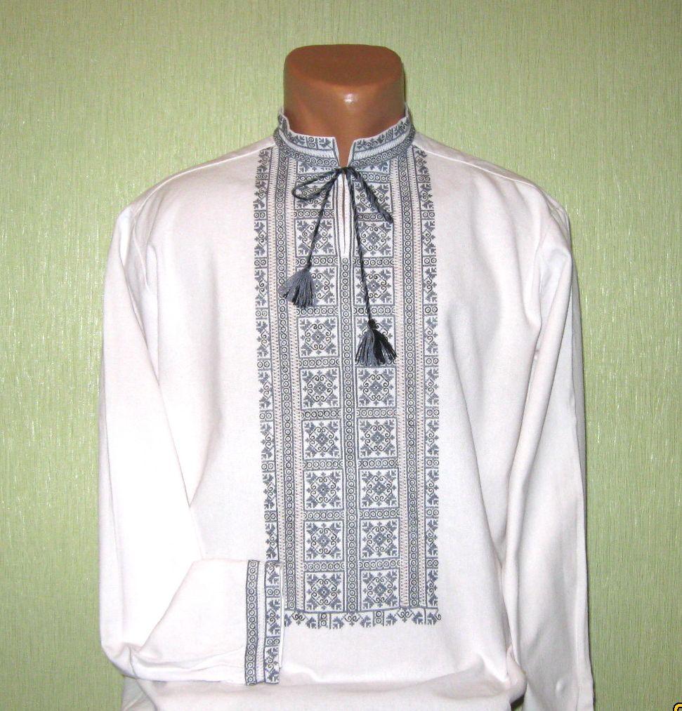 сучасна стильна модна чоловіча вишита сорочка з сірим орнаментом на білому  домотканому полотні недорого 79030af82370b