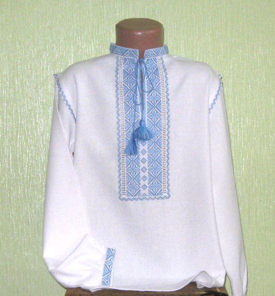 Вишита сорочка для хлопчика з голубим візерунком ручної роботи ... 480c2bd14eccf