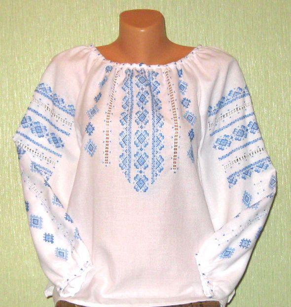 Вышиванка для девушки з голубым узором - Товары - Вишиванки ручної ... 4a6b0acb0f0be
