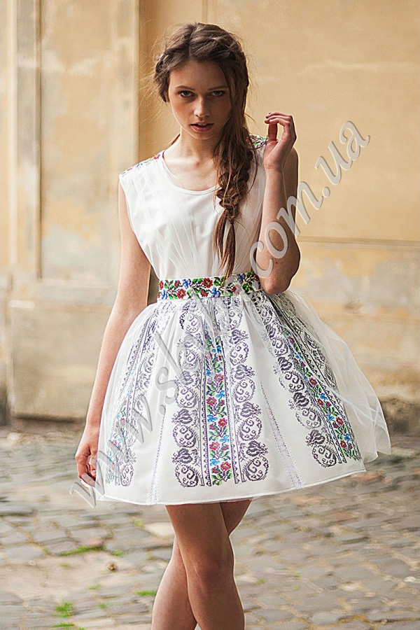 cfa8627a46b172 Жіноча сукня СК6335 з фатіном та уквітчаними вставками - Товари ...