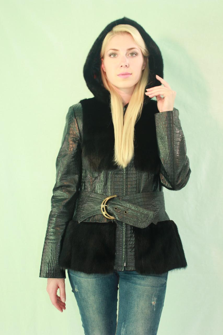 Чорна куртка з норки і шкіри з капюшоном ціна 20de6e274670f