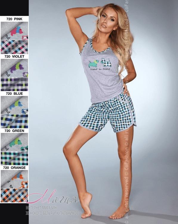 Віскозна піжама прямого крою з шортами в клітину - Товари - Жіноча ... 8bbfae89cbbd4