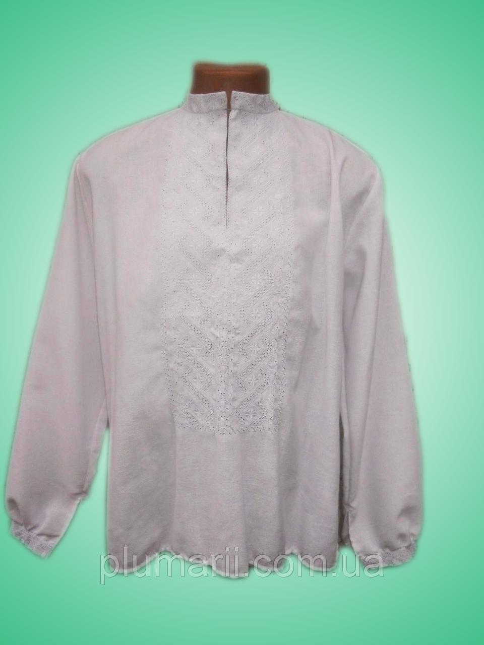 Чоловіча вишита сорочка з білосніжним узором (Мужская вышитая рубашка с  белоснежным узором) SN-0002 834297b739ab3