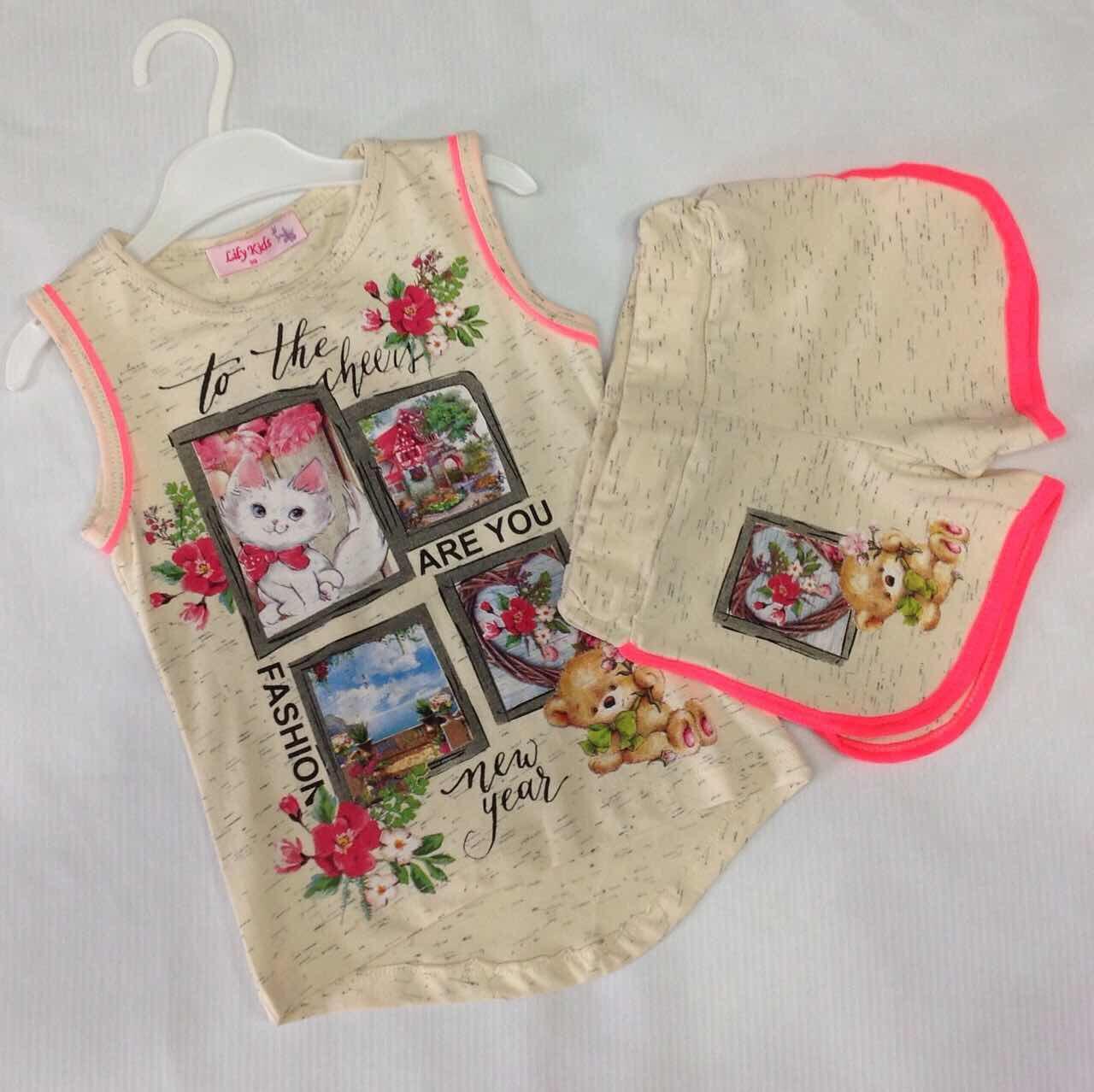 Костюм літній для дівчинки оптом 98-116 - Товари - Дитячий одяг ... 82a17dd567f